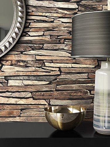 Steintapete Vlies Beige Edel   schöne edle Tapete im Steinmauer Design   moderne 3D Optik für Wohnzimmer, Schlafzimmer oder Küche inklusive NewroomTapezier-Profibroschüre, mit Tipps für perfekte Wände