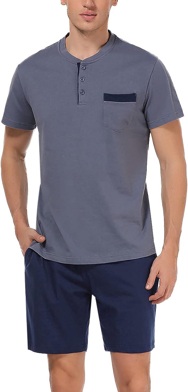 Men's Pajama Short Sleeve Set Cotton Summer pj Set with Button Neck 2 Piece Set Outfit for Men
