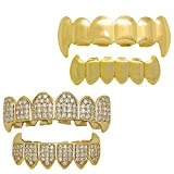 LuReen Teeth Grillz 2 Sets, CZ Diamond Paved Gold Grillz Vampire Fangs Cosplay One Set with Fangs Gold Grills One Set for Men Women