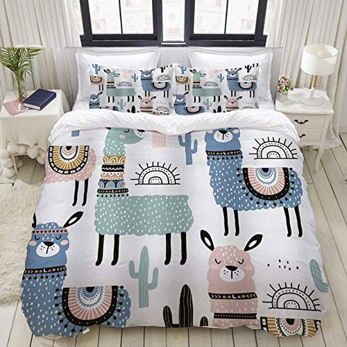 XiHi Duvet Cover Set, Bed Sheets,Cartoon Alpaca Kids Animals Colorful Llama Cactus Cute Lama,1 Duvet Cover Set 200 x 200 cm,+2 pillowcase 50x80cm
