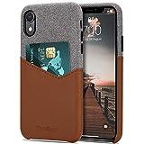 Tasikar Funda iPhone XR Carcasa Cartera de Cuero y Tela con Tarjetero Estuche Compatible con iPhone XR (Marrón)