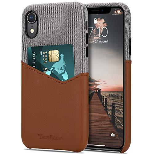 Tasikar Coque iPhone XR avec Fente pour Carte Étui Portefeuille en Cuir et Tissu Compatible avec iPhone XR (Marron)