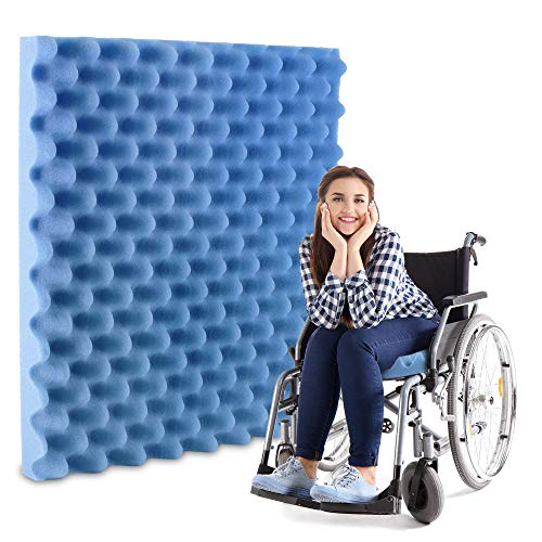 Pivit Convoluted Foam Chair Cushion | 18' x 16' x 2' | Blue | Thick Comfortable Medical Grade Egg-Crate Seat Pad | Relieves Discomfort Prevents Reduces & Heals Pressure Sores | Perfect For Wheelchairs