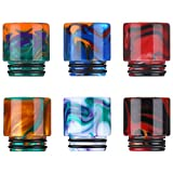 6 Pieces Resin 810 Connector Drip Quick Standard Fitting Machine Replacement Drip Tip Wide Bore Ice Maker Coffee Machine Accessory Screws Tip Adaptor, 6 Colors