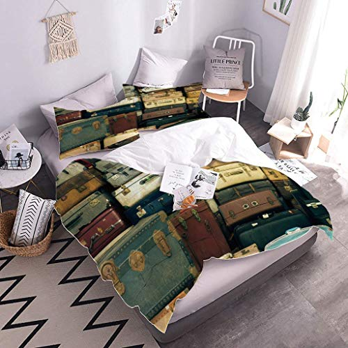 MQBHJI Duvet Covers Double Bed - 3D Printed Vintage Suitcase Pattern 3 Pcs With Zipper Closure 200X200cm With 2 Pillow Covers, Ultra Soft Microfiber Bedding Set Double Bed