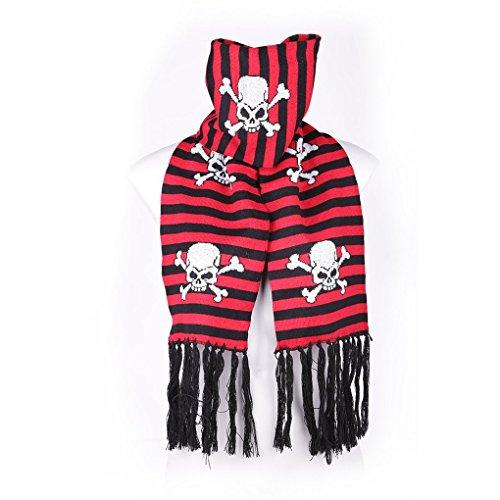 Rock daddy Unisexe hiver écharpe écharpe – Tête de mort pirate noir/rouge à rayures