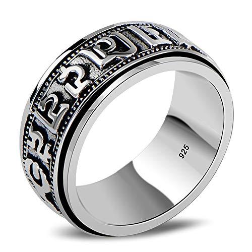 Aienid Trauringe 925 Silber Rotierender Ring Buddhistischer Mantra-Ring Ring für Männer Size:68 (21.6)