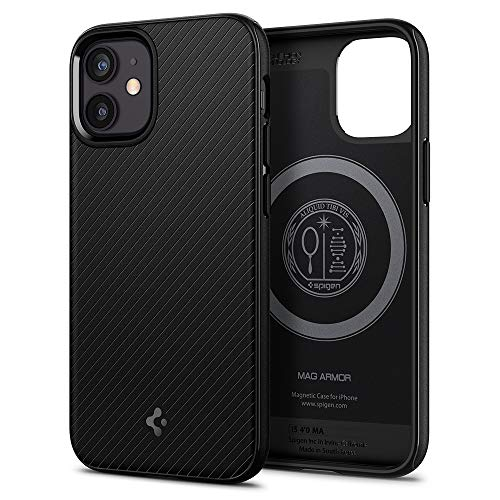 Spigen iPhone12 Mini ケース 5.4インチ MagSafe 対応 ケース TPU マグセーフ ワイヤレス充電対応 米軍MIL規格取得 耐衝撃 すり傷防止 アイホン12プロマックスケース カバー シュピゲン マッグ・アーマー ACS01866 (マット・ブラック)