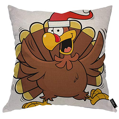 EKOBLA Turkey Throw Pillow Covers Santa Hat Christmas Funny Cartoon Brown Harvest Mascot Feathers Animal Decorative Square Cushion Case for Merry Christmas Home Decor Cotton Linen 18x18 Inch