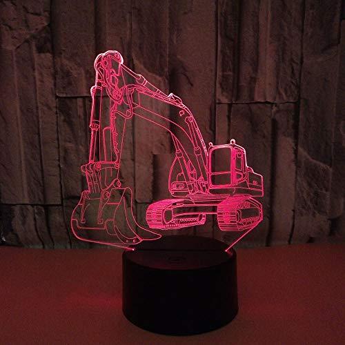 3D Nachtlampe Anime Illusion Lampe Excavator 3D Night Light Car LED Bedroom Bedside Decoration Lamparas Boy Kid Baby Gift Home Decor Lampe HAFS