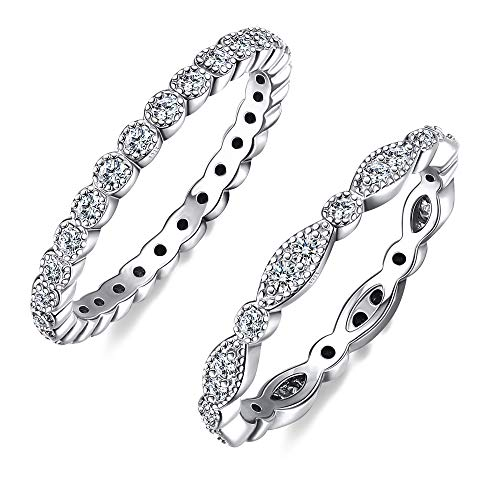 Sllaiss 2Pcs Sterling Silver Rings for Women AAAAA Quality Cubic Zirconia Marquise Milgrain Eternity Bands Promise Valentine