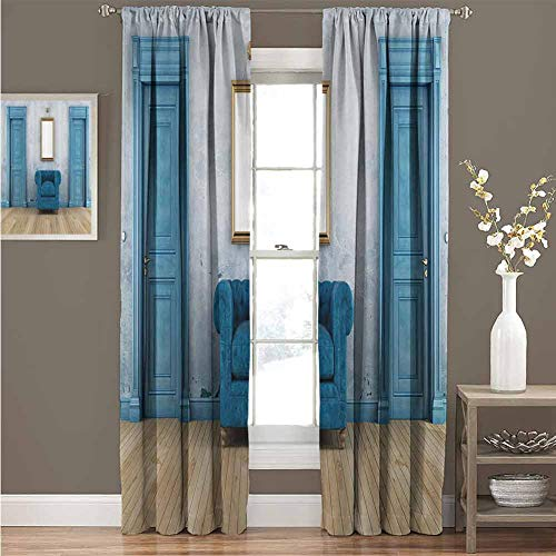 Window Curtain, Blackout Curtain Drapes for Home Deco, Blue Antique, Empty Room with Two Doors Armchair and Simple Mirror with Golden Color Frame, 120