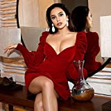 MA Vestido Invierno Mini Vino Rojo Manga Larga Puff Vestido de Mujer Sexy Cuello en V Botones de Terciopelo Lady Celebrity Evening Club Vestido de Fiesta-Vino Rojo_L