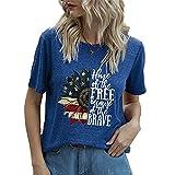 Mayntop Camiseta de manga corta para mujer con diseño de bandera de Estados Unidos, 4 de julio, B-azul, 40