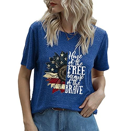 Mayntop Camiseta de manga corta para mujer con diseño de bandera de Estados Unidos, 4 de julio, B-azul, 46