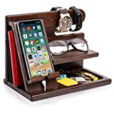 TESLYAR Wood Phone Docking Station Ash Key Holder Wallet Stand Watch Organizer Men Gift Husband Wife Anniversary Dad Birthday Nightstand Purse Father Graduation Male Travel Idea Gadgets (Brown)