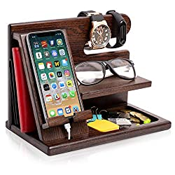 """MULTIFUNCTIONAL CHARGING STATION & ORGANIZER. Сharge your cell phone and keep your daily-used things at hand. Size assembled 6x10x7.3"""". Please note! Accessories shown in the pictures are not included! 100% NATURAL & ECO – FRIENDLY. This stand is made..."""