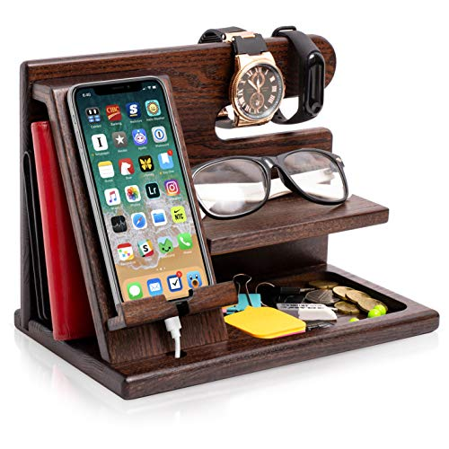 TESLYAR Wood Phone Docking Station Ash Key Holder Wallet Stand Watch Organizer Men Gift Husband Wife...