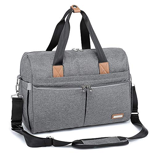 Changing Bag, RUVALINO Large Weekender Travel Nappy Tote Stylish for Mom and Dad Convertible Baby Bag for Boys and Girls with Changing Pad, Insulated Pockets (Grey)