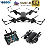 SG700-D 4K Drone with Camera Live Video WiFi FPV Rc Quadcopter with Dual 4K HD Cameras Auto-Photograph Folding Drone Remote Control Rc Helicopter Toy for Beginners Kids(Black) M70