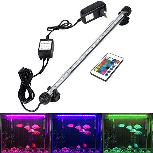 GreenSun LED Aquarium Light , Fish Tank Light with Remote Control, IP68 Submersible Waterproof Strip Bar Light,RGB Color Changing , 4.8 Watts 15inch/38cm