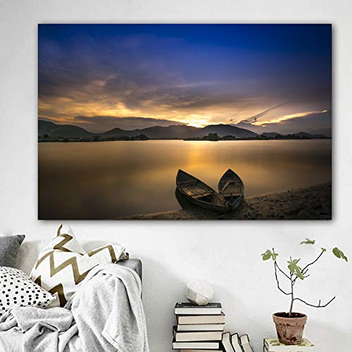 Sanzangtang Scene Boot naar zee en bergen zonsondergang canvas schilderij woonkamer slaapkamer wandschilderij Home Decoration frameloos schilderij