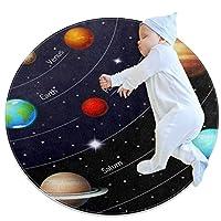 エリアラグ軽量 太陽系の宇宙空間 フロアマットソフトカーペット直径27.6インチホームリビングダイニングルームベッドルーム