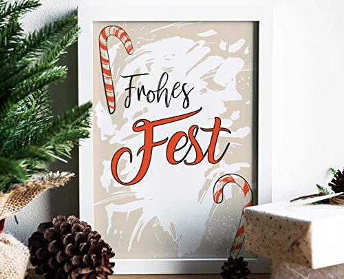 XMAS FROHES FEST - A3 / A4 - Kunstdruck, Geschenk, Weihnachten