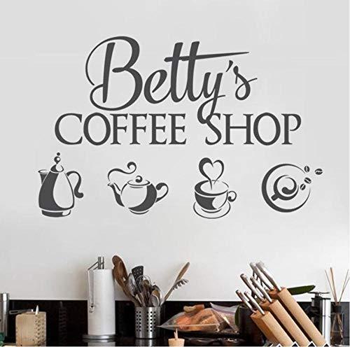 Guokaixyz Coffee-Shop-logo muursticker vinyl binnenhuisarchitectuur raam applique winkel naam applique thee set theepot muurschildering 57X36cm