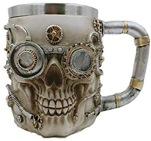 BANGBANGSHOP Schedel Bier Koffie Mok, Viking Hoorn Drinkende Hoorn RVS Koffie Beker, Steampunk Accessoires voor Mannen, 400ml