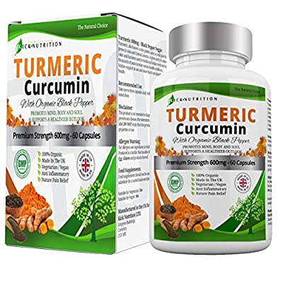 Organic Turmeric and Black Pepper Capsules Easy to Swallow - 1800 mg - High Strength | Joint Fuel Supplement | Suitable for Vegetarians & Vegans | Made in The UK