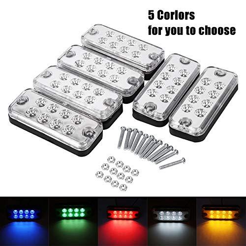 VGEBY 6Pcs Auto Seitenblinker 12V 8 LEDs Laster Seitenmarkierungslampe Wasserdicht Trailer Indikatoren Lichter ( Farbe : Weiß )