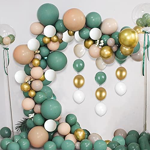 MMTX Ghirlanda Arco Palloncini Kit, 102 Pezzi Catena Palloncini Decorazione Festa Bianca Verde d'oro,Palloncini Decorativi per La Laurea Compleanno