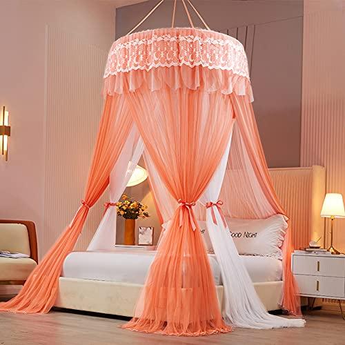 Mosquitera grande para cama doble, toldo de princesa, para colgar en la cama, tienda de campaña de insectos, para cama doble y cama individual, malla fina para el hogar, también en viajes, naranja