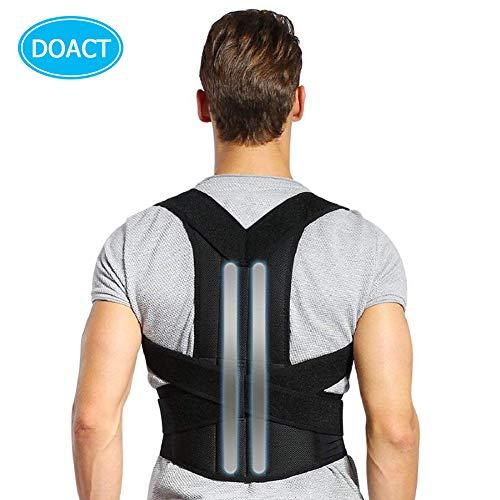 Haltungskorrektur,Doact Haltungskorrektur Geradehalter für Rücken Schulter,Rückenstabilisator für Herren Damen mit 2 Herausnehmbare Schienen,Geradehalter Größenverstellbar mit 2 Weichen Polster XXL