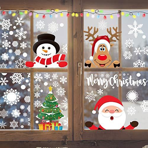 Christmas Clings for Windows 300PCS Christmas Window Decals Christmas Window Clings Xmas Santa Window Clings Stickers for Glass Windows Decorations