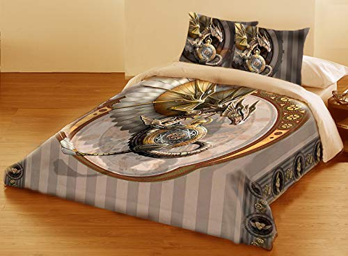 STEAMPUNK DRAGON Duvet & Pillows Case Covers Set for Queensize Bed Artwork By Anne Stokes