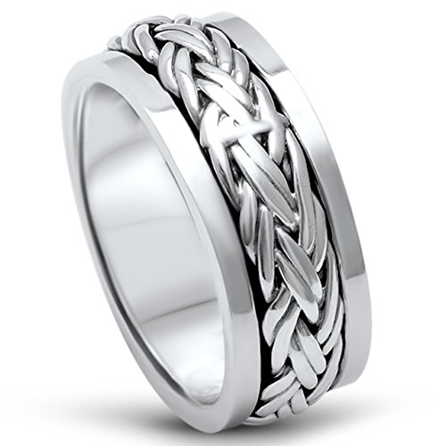 Oxford Diamond Co Men's Sterling Silver Fashion Celtic Spinner Band Sizes 12