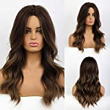 Peluca de color marrón oscuro HAIRCUBE, pelucas largas y rizadas para mujer, pelucas de 24 pulgadas para mujeres, pelucas sintéticas de aspecto natural