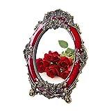 Espejos de Mesa Espejo De Maquillaje De Escritorio De 7 Pulgadas / 8 Pulgadas, Espejo De Boda Espejo De Maquillaje Rojo Suministros De Boda De Escritorio Espejo De Vestir De P(Color:Rojo,Size:8inch)
