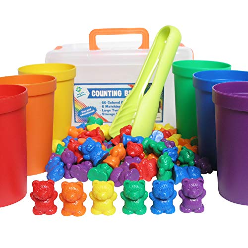 Legato Counting/Sorting Bears; 60 Rainbow Colored Bears, 6 Stacking Cups, Kids Tweezers, Storage Container, and Activity eBook. Quality Educational Toy, Good for STEM and Montessori Programs.