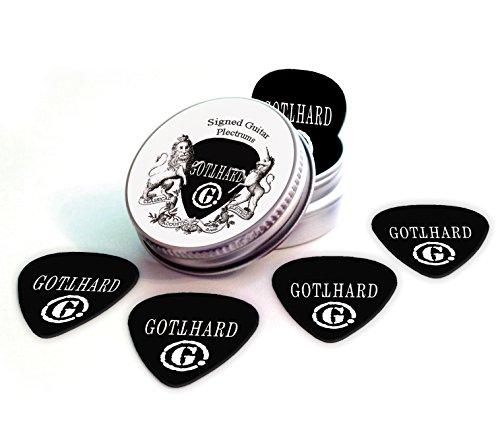 Gotthard Black Guitarra Púas With Tin Lata Band Logo (HB)