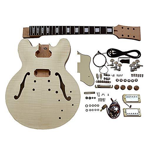 Kit de bricolaje para guitarra eléctrica semihueca ES230 con herrajes cromados y accesorios de color crema