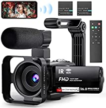 Video Camera WiFi Camcorder, FHD 1080P 30FPS 26MP IR Night Vision Vlogging Camera for YouTube, 3