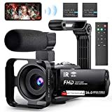Video Camera WiFi Camcorder, FHD 1080P 30FPS 26MP IR Night Vision Vlogging Camera for YouTube, 3' IPS Touch Screen Video Recorder with 16X Digital Zoom, Microphone, Stabilizer, 2.4G Remote 2 Batteries
