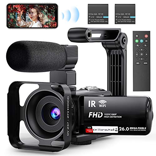 "Video Camera Camcorder WiFi YouTube Camera Vlogging Camera 3"" IPS Touch Screen Night Vision Ultra HD 1080P 30FPS 26MP Digital Camera Recorder with Microphone, 2.4G Remote, Stabilizer, HDMI Output"