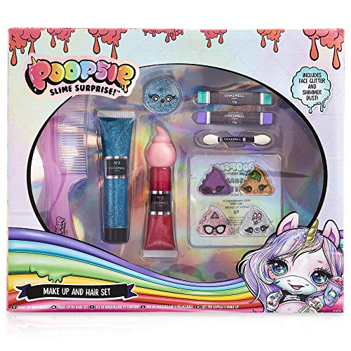 Poopsie Unicorn Rainbow Surprise Trucchi Bambina, Confezione 8 Accessori Make Up Beauty e Capelli con Gessetti Colorati per Capelli, Fantastico Regalo Pupsy per Ragazza