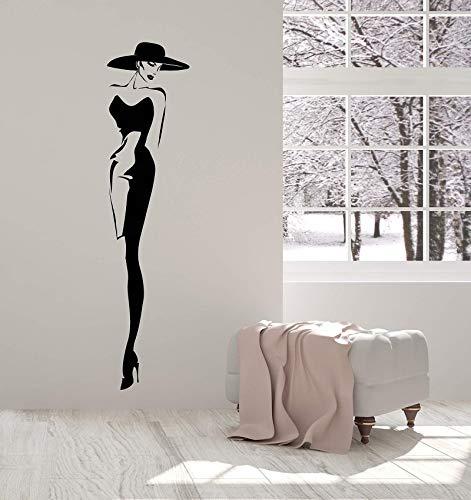 Tianpengyuanshuai Vinyl Wandtattoo Top Fashion Model Hut Retro Lady Style Frau Aufkleber 21X89cm