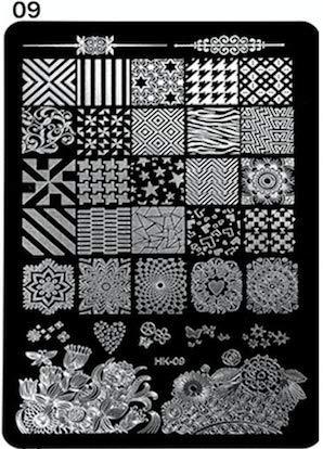 Stamping Schablone | H09 | Kaleidoskop/Muster | silber | rechteckig | für Nail Art wie im Nagelstudio