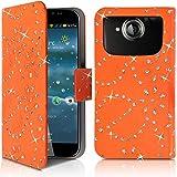 Seluxion-Funda tipo cartera universal tamaño L, diseño de brillantes, color naranja para Acer Liquid Jade